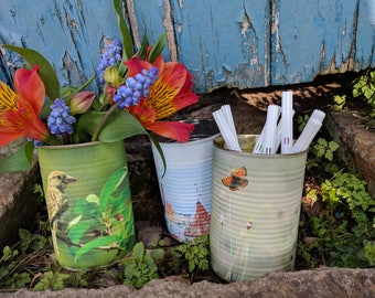 Upcycled Decorative tin can vases