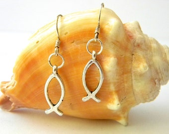 Jesus Fish Earrings Silver Color Dangle Earrings