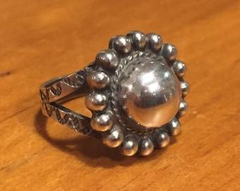 Domed Sterling Flower Ring