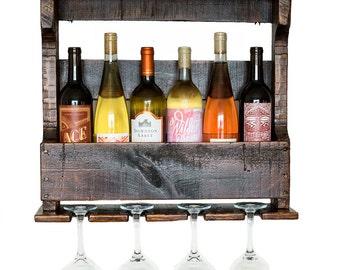 Pallet Wine Rack - Pallet Furniture - Rustic Wine Rack - Dark Brown Wooden Wine Rack - Reclaimed Wood - Wine Holder - Hanging Wall Wine Rack