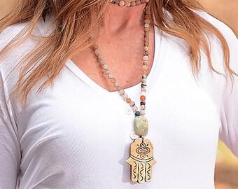 "3 in 1 Hand Knotted Mala Necklace, Mixed Agate Precious Stones, Jade Guru Stone, Hamsa Pendant, Yoga, Meditation, Spiritual, 42"" Necklace"