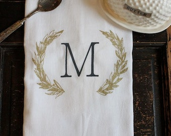 1 Kitchen Towel - Flour sack Towel - Dish Towel - Tea Towel- Monogrammed Wreath by Modern Vintage Market