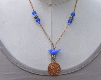 Blue Bird Necklace, Cobalt Blue Vintage Bead Necklace, Flower Necklace, Bird Lovers Gift, Lampwork Glass Bead Jewelry, Necklace for Her