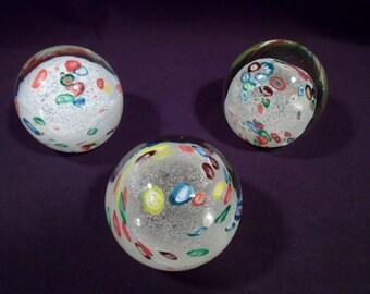 Set of 3 Handblown Glass Paperweights, Millefiori, Snow, Matching