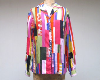 Vintage 1960s Blouse / 60s Silk Bullock's Wilshire Print Top / Medium