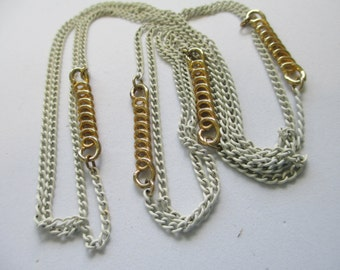 """Vintage gold toned 54"""" long white enameled slip on chain necklace no markings K"""