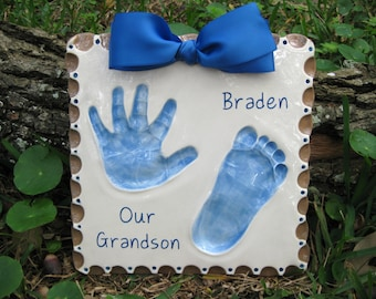 Babys First Footprint - Personalized Childs Footprint - Unique Childs Handprint Art - Custom Baby Memento - Babys Personalized Handprint