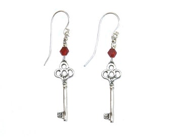Sterling Silver Earrings with Sterling Silver key pendants and crystal beads - er002