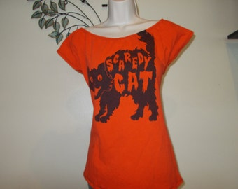 Revamped Custom Made DIY Scaredy Cat T Shirt  Into Sexy Scoop Top