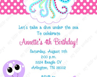 10 Under The Sea Birthday Invitations with Envelopes.  Free Return Address Labels