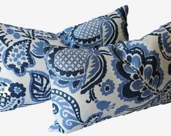 Decorative Indoor Outdoor Ikat Pillow Cover, Blue, 12x20, 10x18, Lumbar Throw Pillow