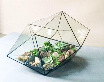 Modern geometric terrarium Hexadecahedron 3 sizes. Glass candle holder