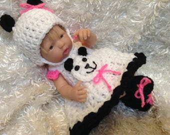 14 Inch Doll clothes,9 Inch doll clothes, Panda Bear Dress Set,Dress,hat and Shoes