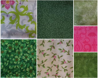 FQ002 ~ 7 Fat Quarters Green fabric Green flowers Pink swirls Pink rosebuds Quilting Quilt