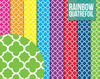 SALE * Quatrefoil Paper Pack - Digital Scrapbooking Printable for Crafting - Clipart - Instant Download - Rainbow