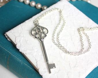 Skeleton Key Eleanor Pendant Necklace, Long Chain Silver Antique Key Pendant, Unique Silver Necklace