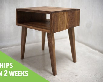 Solid Black Walnut Side Table/ Nightstand with Tapered Legs