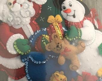 "SUMMERSALE Plaid Bucilla Felt Christmas Santa & Snowman Kit 18"", Includes Everything You Need to Make This Beautiful Felt Stocking"