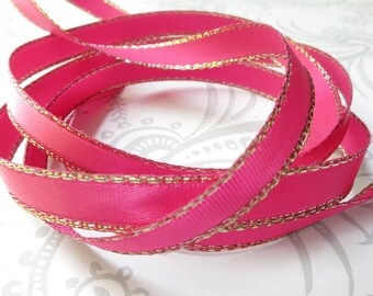 Gold Edged Hot Pink Satin Ribbon 1/4 inch -- 3 yards -- 6mm