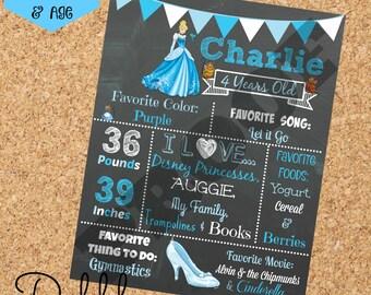Cinderella Birthday Chalkboard / 1st birthday chalkboard / 2nd birthday chalkboard/ Cinderella Birthday/ Princess board