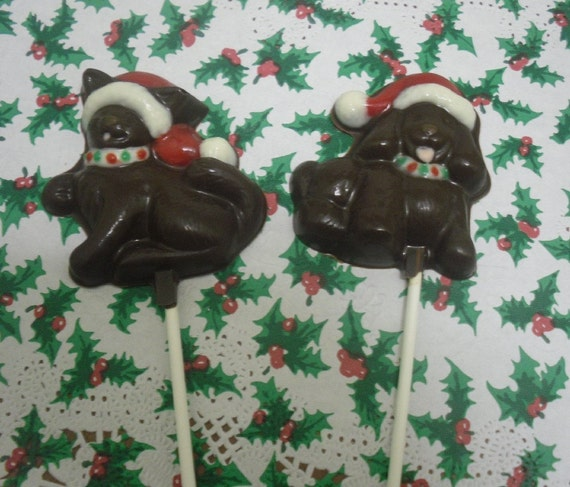 Christmas Kitty or Doggie Lollipops 6 piece