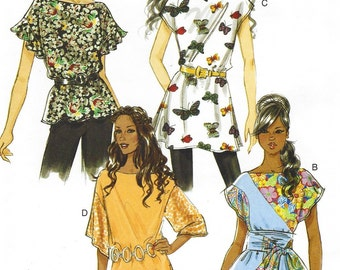 Womens Tops, Tunics and Kimono Sash Cute Variations OOP Butterick Sewing Pattern B5463 Size 8 10 12 14 Bust 31 1/2 to 36 UnCut