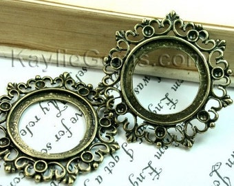 3 pcs Antique Brass Victorian Style Decorative Rhinestone Cameo Cabochon Frame, Setting, Pendants -FRM-2433AB