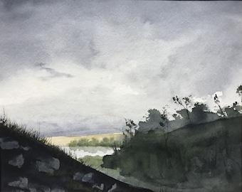 Sunlit Valley Original Watercolor