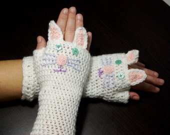 """Crochet Gloves: """"ANIMAL GLOVES"""" Fingerless Gloves White Cat Gloves Hand Warmers Hand Knit White Cats Mittens Winter accessory A162"""