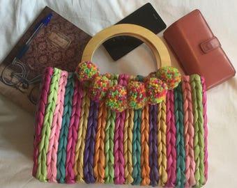 Rainbow straw bag, woven colourful bag, rainbow pompom bag, pompom straw bag, summer straw bag, summer pompom bag, wooden handle bag