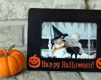 Halloween Decor Halloween Frame Halloween Kids Happy Halloween 4x6 Picture Frame Photo Frame Rustic Picture Frame Picture Frame Distressed