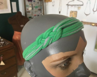 recycled t-shirt headband - green with grey