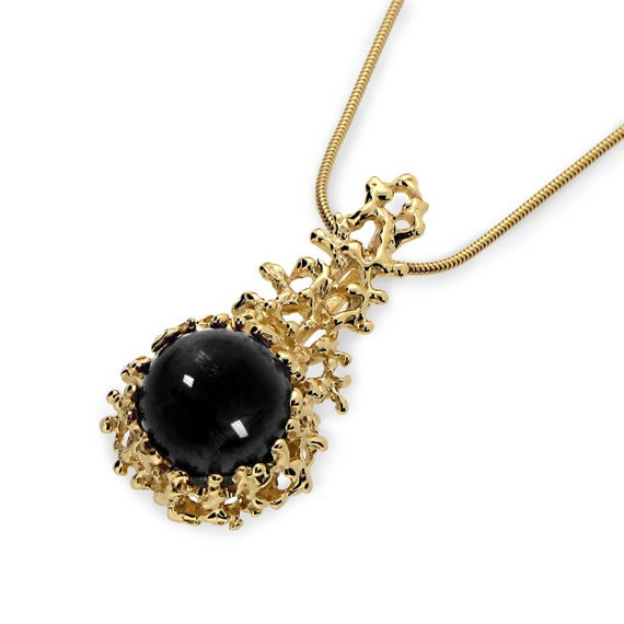 Coral gold onyx pendant necklace black onyx necklace black like this item aloadofball Images