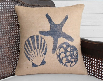 Beach Memories Burlap Pillow - Beach Pillow  -  Coastal Pillow - Sea Shell Pillow  - Nautical Seashell - Starfish Pillow