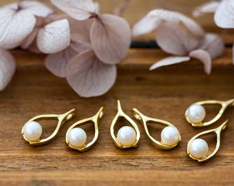 Vintage Wishbone Charms Gold Tone Good Luck Metal Charms with Pearl 7x15mm
