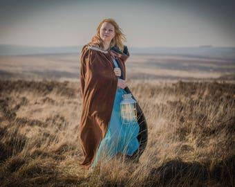 Brown velvet hooded cloak, cape, Stunning for wedding, handfasting, heavy cotton velvet with large hood. re-enactment, LARP, LOTR, medieval