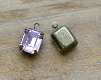 DIY  1 - Small Rectangle Jewel Charm LIGHT PINK Drop Gem Rectangle 8x10mm Antique Bronze Claw Setting Charms (AW042) 50DFL