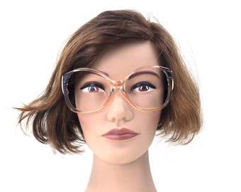 vintage. round. eyeglasses. oversized. eye glasses. designer. clear. pink. blue. ombre. silver. eyeglass frames. for women.