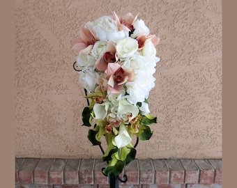 Blush Bridal Bouquet Orchids Green Calla Lilies Cream White Wedding Flowers