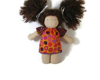 10 inch Waldorf Doll Dress, orange and purple dotty doll dress