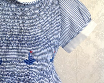 Striped white and blue boat dress