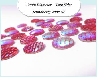 10 x 12mm Strawberry WIne AB Mermaid Fish Scale Cabochons - Australia
