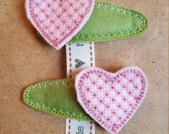 Hair Clips with Pink Heart