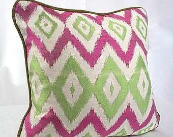 Chevron pillow cover, Pink green chevron pillow cover,  Throw cushion pillow covers, Pillow cases ivory decorative couch piping shams zigzag