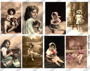 Digital Collage Sheet, Pet images, Vintage Postcards (Sheet no. PS13) Instant Download
