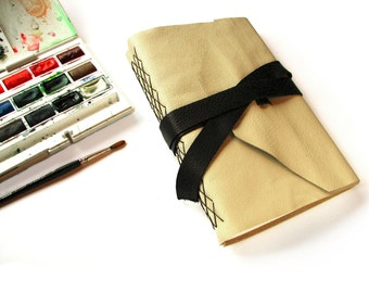 Large Leather Watercolor Journal with Double Wrap Tie, Art Journal, Gift for Artists