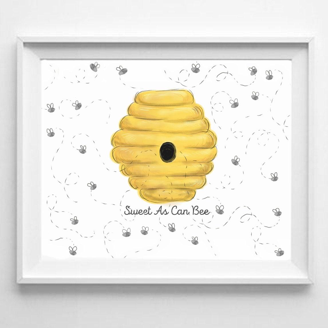 Baby Shower Fingerprint Guestbook Bumble Bee Baby Girl Baby
