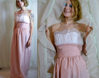 60s Pink and Cream Dusty Rose bustier formal gown with scallop eyelet lace trim