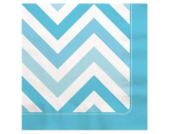 16 Count - Chevron Blue Beverage Napkin - Baby Shower or Birthday Party Supplies