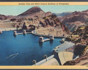 Lake Mead Boulder Dam Reservoir and Black Canyon Spilway in Forground 083